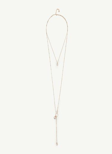 Yargıcı Kadın Uçları Taş Detaylı Zincir Kolye 0YKBJ8438X065 Altın